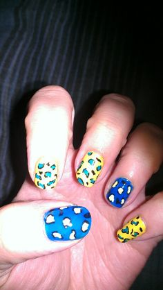 Blue and Yellow Leopard #IHeartNailArt #blue #yellow #leopard