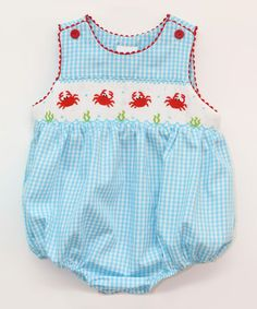 Another great find on #zulily! Blue Gingham Crabs Smocked Bubble Bodysuit - Infant #zulilyfinds