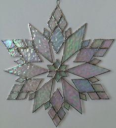 stained glass snowflake suncatcher design 21B by bitsandglassart