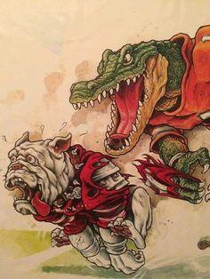 GO GATORS . Florida Gators and Georgia Bulldogs battle in the Gator Bowl Jacksonville Florida Fla Gators, Florida Gators Logo, Florida Gators Football, Gator Football, College Football, College Sport, Football Stuff, Broncos, Football Cheerleaders