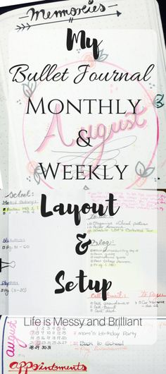 Bullet Journal: August Monthly and Weekly Setup and Layout
