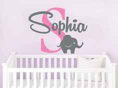 Name Wall Decal Elephant Vinyl Decals Sticker Custom Name Decals Personalized Baby Girl Name Elephant Decor Nursery Baby Room Decor