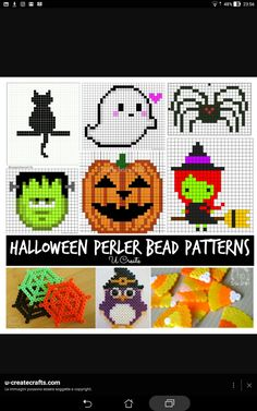 Perler Hama Beads Patterns, Perfect for Halloween. Melty Bead Patterns, Pearler Bead Patterns, Perler Patterns, Beading Patterns, Embroidery Patterns, Knitting Patterns, Stitch Patterns, Perler Beads, Perler Bead Art