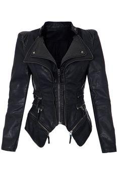 Shrug Shoulder PU Leather Blazer