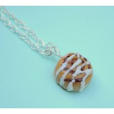 Miniature Cinnamon Roll Cinnamon Bun Polymer Clay Charm Necklace Food Jewelry (57 BRL) found on Polyvore featuring women's fashion, jewelry, necklaces, silver charm necklace, silver jewelry, clay charms, mini charms and charm necklace