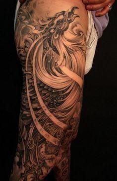 Full leg phoenix tattoo - Design of Tattoos