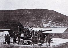 Turkish heavy gun at the Dardanelles Straits before the bombardment by the British and French fleets