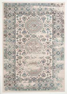 Vintage Teppich Türkis Gemustert 080x150 Cm, Frisee Modern    Klick Vinyl Boden