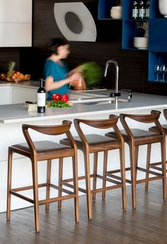 Kitchen Island Chairs navy, wood and grey kitchen designedgrant k. gibson at