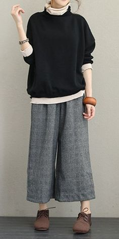 Vintage Casual Woolen Wide Pants Women Warm Pants , Vintage Casual Woolen Wide Leg Pants Women Warm Trousers , 패션 Source by Plad Outfits, Casual Outfits, Casual Pants, Casual Clothes, Dress Casual, Dress Outfits, Fashion Mode, Fashion Outfits, Womens Fashion