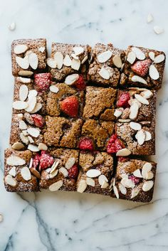 Red Berry Almond Blondies | dolly and oatmeal