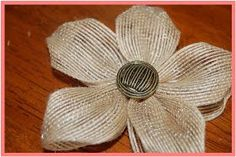 That's So Cuegly: Craft Concoction Friday! {Burlap-ish} That So Soegeg: Craft Concoction Friday! Burlap Projects, Burlap Crafts, Ribbon Crafts, Flower Crafts, Fabric Crafts, Cloth Flowers, Burlap Flowers, Diy Flowers, Fabric Flowers