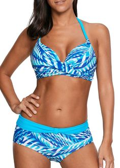 3abd357733 Trendy Halter Neck Printed Twist Front Blue Bikini Set