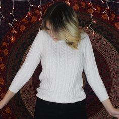 White Cable Knit Sweater Super cute and soft. White cable knit and warm. Great for a size small-medium. No flaws and only worn twice. H&M Sweaters Crew & Scoop Necks