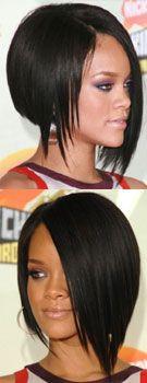 Asymmetrical Bob, Inverted Bob - Rihanna I used to have my hair very similar to this.thinking I should go back. Cut My Hair, Love Hair, Great Hair, Awesome Hair, Medium Hair Cuts, Medium Hair Styles, Short Hair Styles, Asymmetrical Bob Haircuts, Inverted Bob