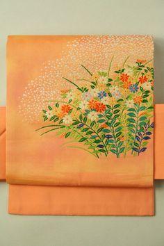 Salmon Pink Nagoya Obi (Otaiko), Embroideried Flower / サーモンピンク地 楚々とした刺繍花のお太鼓柄 名古屋帯   #Kimono #Japan http://www.rakuten.co.jp/aiyama/