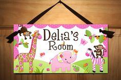 Pretty Pink Girly Jungle Animals Girls Bedroom Baby Nursery Kids Bedroom DOOR SIGN Wall Art (just incase it's a girl! Bedroom Door Signs, Bedroom Doors, Kids Door Signs, Wall Signs, Baby Bedroom, Girls Bedroom, Bedroom Wall, Jungle Bedroom, Girl Rooms