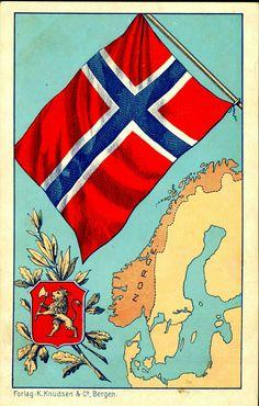RIKSVÅPEN OG FLAGG. Kart over Norge, i farger. Utg Forlag K. Knudsen, Bergen