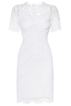 white pencil dress with lace