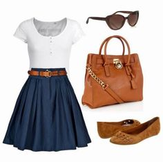 Navy blue classic skirt, nice white tee, and brown flats