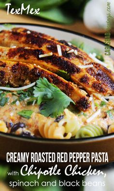 FAST AND FLAVORFUL! Cream cheese roasted red pepper sauce spiced with chipotle chili powder, smoked paprika and cumin with blackened chipotle chicken. One of my all time favorite pastas!  Carlsbad Cravings