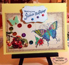 Butterflies, sequins, joyous birthday, card