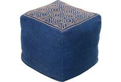 Wylie Linen Pouf, Blue/Jute
