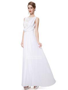 Ivory Chiffon Beaded Lace Straps A Line Floor Length Beauty Long Prom Dress
