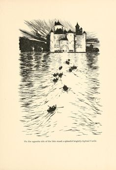 On the opposite side of the lake stood a splendid brightly-lighted Caste; The Twelve Dancing Princesses - The Fairy Tales of the Brothers Grimm, 1909