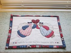 vintage fabric angels quilted table mat center by KjsKwilting