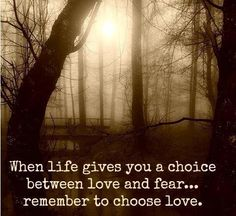 When life gives you a choice Between love and fear… remember to choose love. Favorite Quotes, Best Quotes, Mottos To Live By, Words Quotes, Sayings, Choose Love, Clever Quotes, Love Words, Quotations