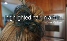 I have the same hair. Just dark blonde and purple. But I'm having my in a bun right now. :)