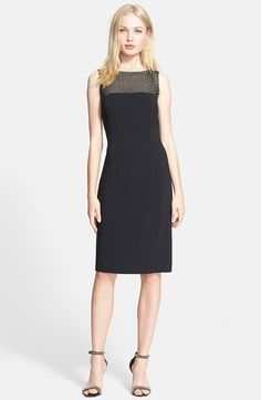 Love this little black L'AGENCE dress! Embellished Mesh Yoke Sheath Dress available at #Nordstrom