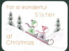 Sledding; cute card; enlarge and print for pattern; could be made for children or friends; try varying thread colors