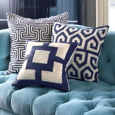 Red, White & Blue - Mykonos Greek Tooth Throw Pillow