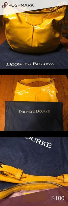Dooney & Bourke Purse - Patent Leather w/ Dust Bag Hello sunshine!  This is definitely a stand out Dooney & Bourke bag in a beautiful yellow patent leather!  The interior is clean, like-new.  The exterior has normal signs of wear with a couple of minor scuffs, barely noticeable.  See pics.  This was one of my very first designer bags, and as much as I lover her, it's time to let her go 😢 Hopefully she'll find a new loving home 🤗 Dooney & Bourke Bags Shoulder Bags