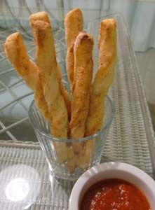 "Gluten-Free (and yeast free) breadsticks with cheese from ""Carla's Gluten Free Recipe Box"""