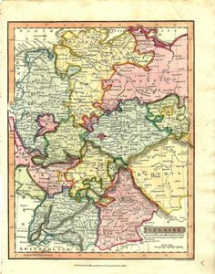 Germany  1823  Colourful map showing the Lower Saxony, Brandenburg, Lusatia, Upper Saxony, Bohemia, Bavaria, Fraconia, Bayreuth, Anspach, Swabia, Lower Rhine, West Phalia etc. areas bordered by the Baltic Sea, Austria, Switzerland, France, Holland and the North Sea.
