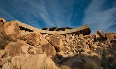 Architecture, Gorgeous Contemporary Architecture Of Modern Desert House By Kendrick Bangs Kellogg Featuring Unique Exterior Design With Nice Roof Among Rock Stone: Unique Modern Architecture Building on Desert