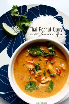 Thai Peanut Curry with Jasmine Rice is an easy recipe full of yummy vegetables and pork, but can easily be made with chicken and can be made into a vegetarian dish as well. This is a beautiful, delicious main course meal everyone will love! Serve with jasmine rice and a cucumber salad.