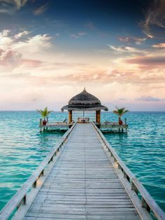 Sunrise and sunset jetty in the Maldives. #Maldives #travel #sea