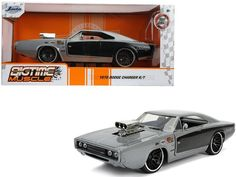 """1970 Dodge Charger R/T with Blower Gray Metallic and Black """"Bigtime Muscle"""" 1/24 Diecast Model Car by Jada Packing Boxes, Rubber Tires, Diecast Model Cars, Car Brands, Dodge Charger, Jada, Engineering, Metallic, Muscle"""