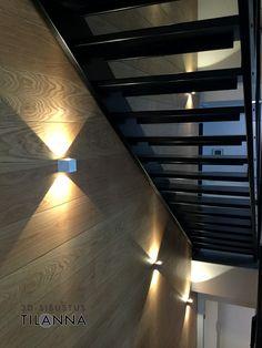3D-sisustussuunnittelu / mustat portaat ja tammiseinä, kahteen suuntaan valaisevat seinävalaisimet, portaat Hovinikkareiden mallia Virgon, http://www.hovinikkarit.com, valaisimet https://ledstore.fi / 3D-sisustus Tilanna