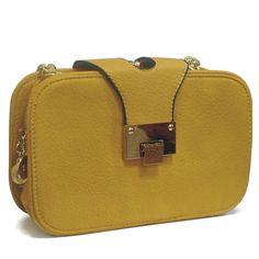 Bolsa de Couro Amarelo com Alça de Corrente e Vários Compartimentos. R$119.90