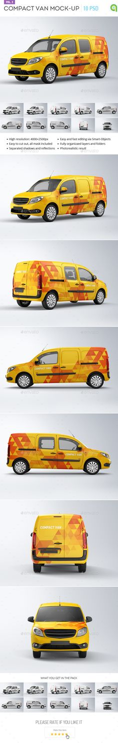 Compact Van Mock-up Template #design #logotype Download: http://graphicriver.net/item/compact-van-mockup-vol2/14057574?ref=ksioks
