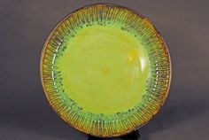 Ceramic Pottery Serving Plate - Ceramic Platter - Opal Green Glaze Plate by Kris Cravens Pottery on Gourmly