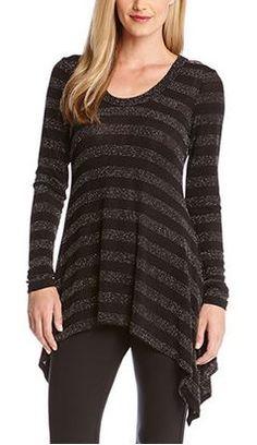 Stripes + Sparkle! Super Slimming Black and Grey Sparkle Stripe Handkerchief Top