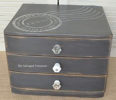 Trash to treasure chest using Postmark Wall Stencil by My Salvaged Treasures.