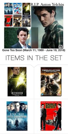 """""""R.I.P. Anton Yelchin"""" by wearwhatyouwatch ❤ liked on Polyvore featuring art"""