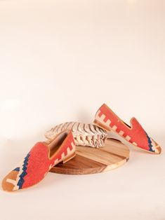 Our Turkish kilim rug loafers are one of a kind. Handmade with a wool upper, leather lining/interior and a inch raise.